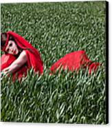 Woman In Red Series Canvas Print by Cindy Singleton