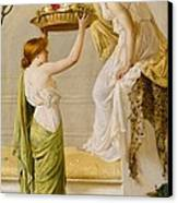 A Basket Of Roses - Grecian Girls Canvas Print by Henry Thomas Schaefer