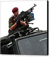 A Belgian Paratrooper Manning A Fn Mag Canvas Print by Luc De Jaeger