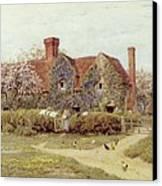 A Buckinghamshire House At Penstreet Canvas Print by Helen Allingham