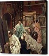 A Collector Of Pictures At The Time Of Augustus Canvas Print by Sir Lawrence Alma-Tadema