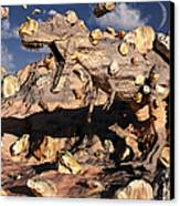 A Fossilized T. Rex Bursts To Life Canvas Print by Mark Stevenson