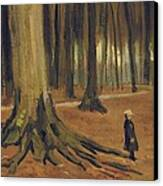 A Girl In A Wood Canvas Print by Vincent van Gogh