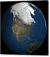 A Global View Over North America Canvas Print by Stocktrek Images
