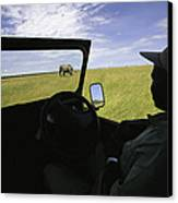A Guide In A Jeep Observing An African Canvas Print by Michael Melford