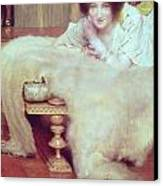 A Listener - The Bear Rug Canvas Print by Sir Lawrence Alma-Tadema