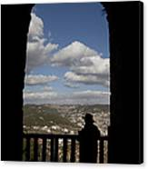 A Man Looks Out Of Ajloun Castle Canvas Print by Taylor S. Kennedy