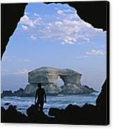 A Man Silhouetted Against La Portada Canvas Print by Joel Sartore