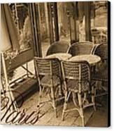 A Parisian Sidewalk Cafe In Sepia Canvas Print by Jennifer Holcombe