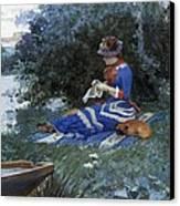 A Quiet Afternoon Canvas Print by William Henry Lippincott