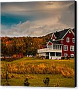 A Red Farmhouse In A Fallscape Canvas Print by Chantal PhotoPix