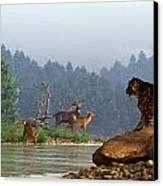 A Saber-tooth Hunting Deer Canvas Print by Daniel Eskridge