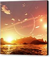A Scene On A Distant Moon Orbiting Canvas Print by Brian Christensen