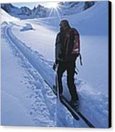 A Woman Skiing In The Selkirk Canvas Print by Jimmy Chin