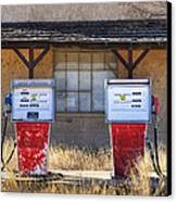 Abandoned Gas Pumps And Station Canvas Print by Dave & Les Jacobs