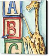 Abc Blocks - Giraffe Canvas Print by Annie Laurie