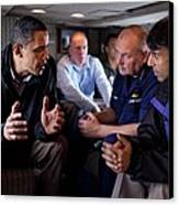 Aboard Marine One President Obama Meets Canvas Print by Everett