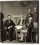 Abraham Lincoln At The First Reading Of The Emancipation Proclamation - July 22 1862 Canvas Print by International  Images