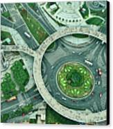 Aerial View Of Shaghai Traffic Canvas Print by Ixefra
