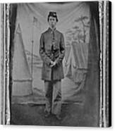 African American Soldier Posed In Front Canvas Print by Everett