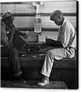 African American Young Men Play A Card Canvas Print by Everett