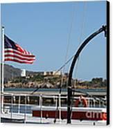 Alcatraz Island Through The Hyde Street Pier In San Francisco California . 7d14163 Canvas Print by Wingsdomain Art and Photography