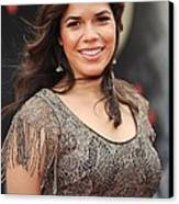 America Ferrera Wearing A James Canvas Print by Everett