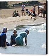 Amish Girls At The Beach Canvas Print by MB Matthews