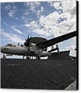An E-2c Hawkeye Aircraft Prepares Canvas Print by Stocktrek Images
