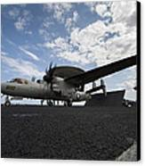 An E-2c Hawkeye Aircraft Prepares Canvas Print by Stocktrek Images