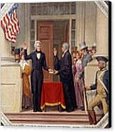 Andrew Jackson At The First Capitol Inauguration - C 1829 Canvas Print by International  Images