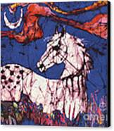 Appaloosa In Flower Field Canvas Print by Carol Law Conklin