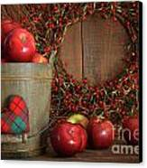Apples In Wood Bucket For Holiday Baking Canvas Print by Sandra Cunningham