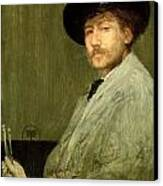 Arrangement In Grey - Portrait Of The Painter Canvas Print by James Abbott McNeill Whistler