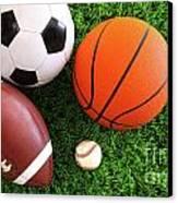 Assortment Of Sport Balls On Grass Canvas Print by Sandra Cunningham