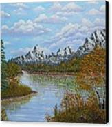 Autumn Mountains Lake Landscape Canvas Print by Georgeta  Blanaru
