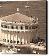 Avalon Casino In Sepia Canvas Print by Paula Greenlee