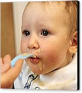 Baby Boy Being Fed Canvas Print by Tek Image