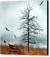 Baby Buggy By Tree With Nest And Birds Canvas Print by Jill Battaglia