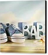 Baby Denim Shoes Canvas Print by Sandra Cunningham