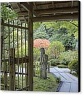 Bamboo Gate And Traditional Arch Canvas Print by Douglas Orton
