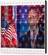 Barack A Stamp Canvas Print by Fania Simon