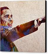 Barack Obama Watercolor Canvas Print by Stefan Kuhn