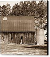 Barn And Silo 1 Canvas Print by Douglas Barnett