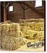 Barn With Hay Bales Canvas Print by Elena Elisseeva