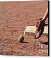 baseball and Glove Canvas Print by Randy J Heath