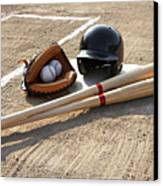 Baseball Glove, Balls, Bats And Baseball Helmet At Home Plate Canvas Print by Thomas Northcut