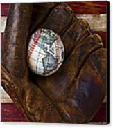 Baseball Mitt With Earth Baseball Canvas Print by Garry Gay