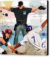 Baseball Player Safe At Home Plate Canvas Print by Greg Paprocki