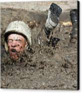 Basic Cadet Trainees Attack The Mud Pit Canvas Print by Stocktrek Images